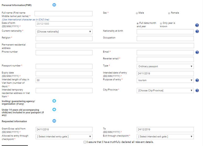 demande de e-visa pour le Vietnam